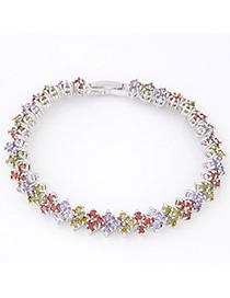 Cranes Multicolor Diamond Decorated Square Shape Design Zircon Crystal Bracelets