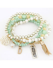 Fashion Light Green Beads Decorated Multilayer Design Alloy Korean Fashion Bracelet