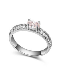 Milly White Diamond Decorated Simple Design Zircon Crystal Rings