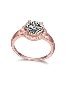 Vellum White & Rose Gold Diamond Decorated Simple Design Zircon Crystal Rings
