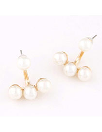 Stationery White Pearl Decorated Simple Design Alloy Stud Earrings