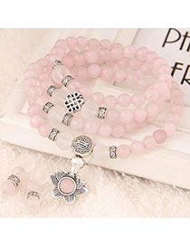 Luxury Pink Beads Decorated Multilayer Design Alloy Fashion Bracelets