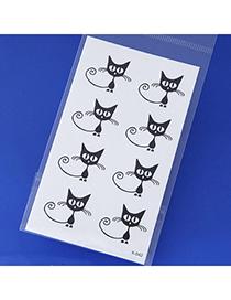 Fashion Black Cat Pattern Simple Design Tape Tattoos Body Art