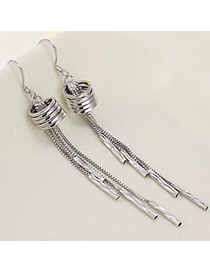 Fashion Silver Color Round Shape Decorated Tassel Design Cuprum Crystal Earrings