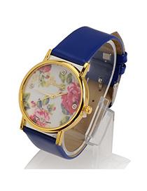 Fashion Blue Rose Pattern Round Shape Design