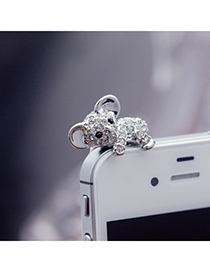 Monogramme silver color diamond decorated koala design alloy Mobile phone products