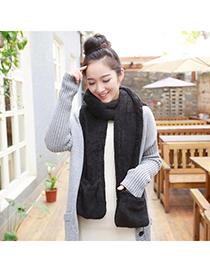 Hemming Black Pure Color Simple Design Wool knitting Wool Scaves