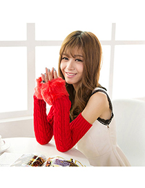 Fake Red Imitation Cashmere Decorated False Sleeves Deisgn Cashmere Fingerless Gloves