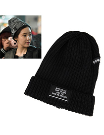 Pearl Black Letter Bowler Pattern Simple Design Wool Knitting Wool Hats