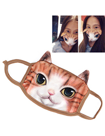 Blank White & Orange Cat Pattern Decorated Simple Design Cotton Face Mask