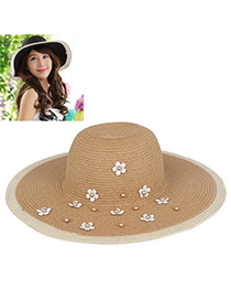 Elegant Khaki Pearl Decorated Flower Design Twine Sun Hats