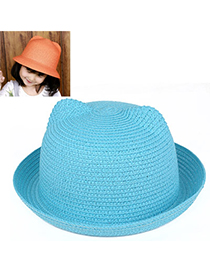 children Sky Blue Pure Color Crimping Design Twine Children's Hats