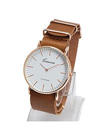 Elegant Brown Letter Pattern Simple Design Alloy Ladies Watches