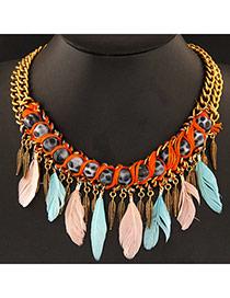 Fashion Multicolor Leaf & Feather Shape Decorated Tassel Design