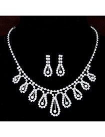 Shiny Silver Color Diamond Decorated Water Drop Shape Design  Alloy Jewelry Sets