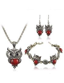 Temperament Red Owl Shape Decorated Simple Design