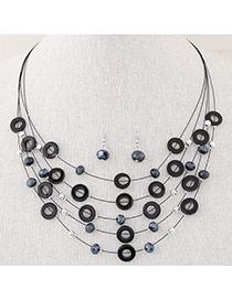 Elegant Black Diamond&circle Decorated Multilayer Design  Alloy Jewelry Sets