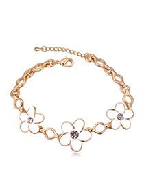 Elegant Champagne Gold+white Flower Shape Decorated Simple Design Alloy Crystal Bracelets