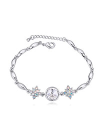 Luxurious White Diamond Decorated Simple Design Alloy Crystal Bracelets