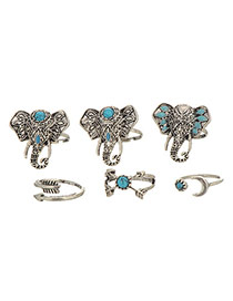 Retro Silver Color Elephant Head Decorated Simple Design(6pcs)