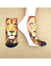 Retro Brown+white Lion Pattern Decorated 3d Effect Design
