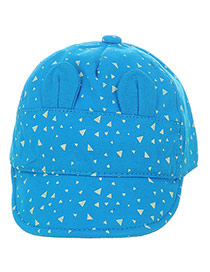 Cute Blue Triangle Pattern&ears Decorated Pure Color Design