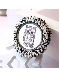 Cute White Owl Pattern Decorated Round Shape Design