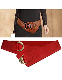 Fashion Red Buckle Decorated Pure Color Design  Alloy Wide belts