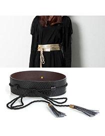 Fashion Black Tassel Pendant Decorated Snakeskin Design Pu Wide belts