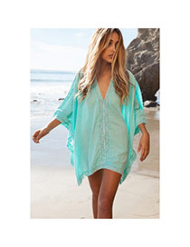 Sexy Green Flower Pattern V-neck Design Bikini Cover Up Smock