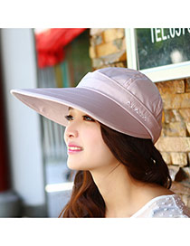 Trending Light Pink Embroidered Letter Decorated Large Brim Design(rondom Color Straps)  Fabric Sun Hats