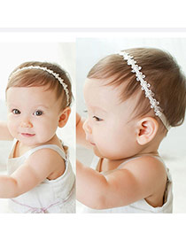 cute White Little Hollow Out Flower Decorated Simple Design Fabric Kids Accessories