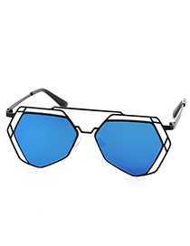 Trendy Blue Irregular Geometric Shape Frame Hollow Out Design