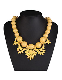 Exaggerate Yellow Big Bead Decorated Short Chain Design
