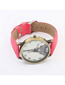 Exquisite Watermelon Red Eiffel Tower Pattern Decorated Simple Design Pu Ladies Watches