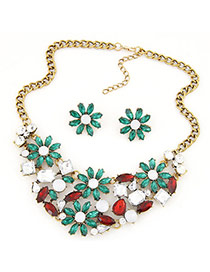 Lovely Green Flower Deacorated Hollow Out Jewelry Sets