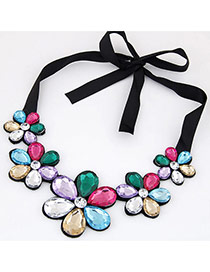 Elegant Multi-color Five Gemstone Flower Decorated Short Chain Necklace
