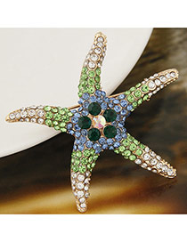 Elegant Green Diamond Decorated Starfish Design Simple Brooch