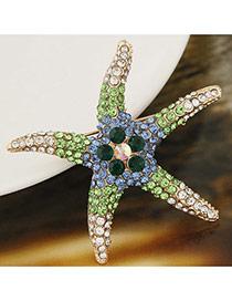 Elegant Green Diamond Decorated Starfish Design Simple Brooch
