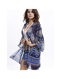 Sexy Sapphire Blue Big Leaf Shape Pattern Decorated Three Quarter Sleeve Losse Bikini Cover Up Smock