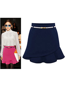 Fashion Dark Blue Pure Color Design Irregular Shape Simple Skirt (without The Waistbelt)