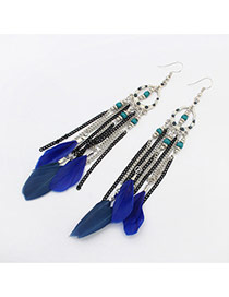 Elegant Blue Beads&feather Pednat Decorated Simplle Earring