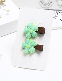Sweet Green Flowers Decorated Pure Color Hairpin(2pcs)