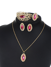 Fashion Plum Red Diamond Decorated Hollow Out Jewelry Sets